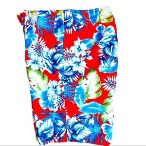 """Hollister Red Tropical Floral 9"""" Board Shorts XS"""